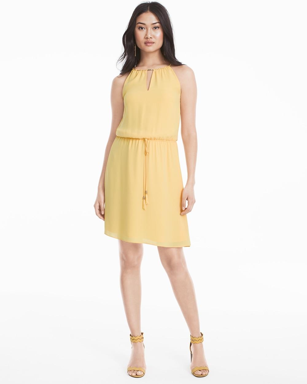 Sleeveless Tie Waist Yellow Blouson Dress White House Black Market