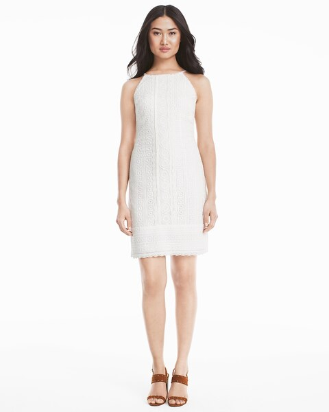 a791feccc3fa6 Sleeveless White Lace Shift Dress - White House Black Market