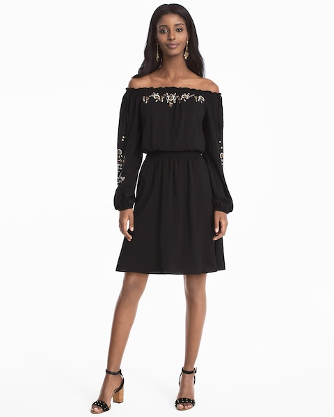 Off The Shoulder Embroidered Black Blouson Dress White House Black