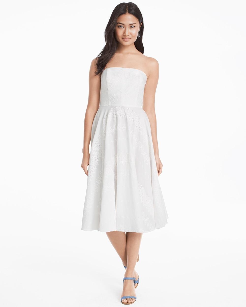 Strapless Eyelet White Fit And Flare Dress White House Black Market