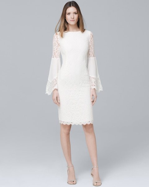 cba88c0043da Return to thumbnail image selection White Lace Bell Sleeve Sheath Dress  video preview image