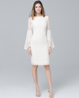 White Lace Bell Sleeve Sheath Dress | Tuggl