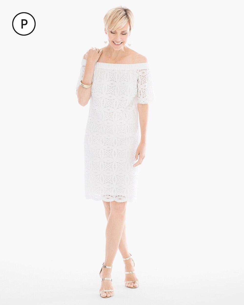 Petite Lace Off-the-Shoulder Dress