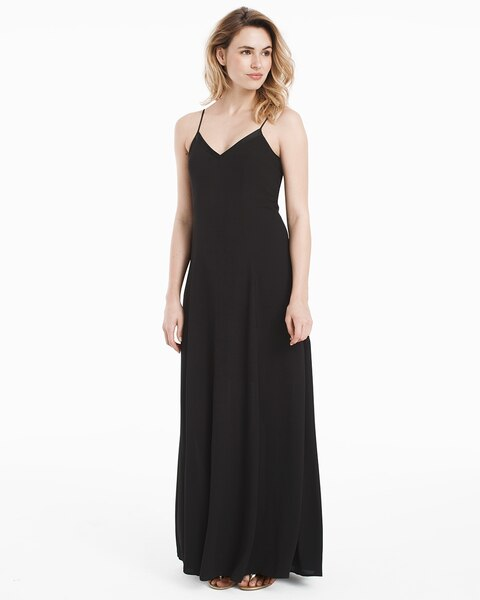 f54396e750a8 Black Lace-Up Maxi Slip Dress - White House Black Market