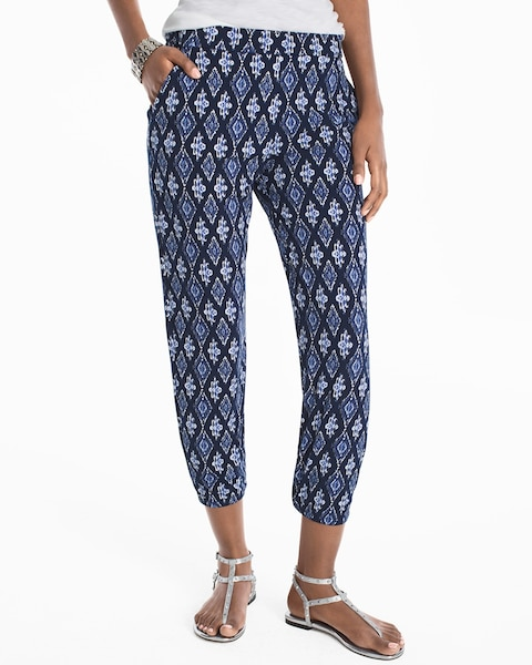 Womens Ikat Printed Knit Crop Pants By White House Black Market