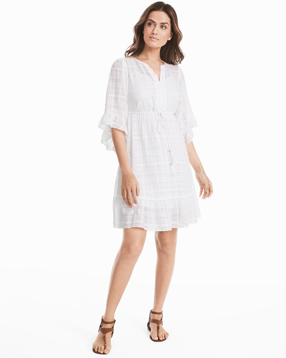 Ruffle Sleeve White Cotton Tie Waist Dress
