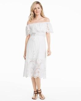44608d60db845 Limited-Edition Off-the-Shoulder White Eyelet Midi Cotton Dress - White  House Black Market