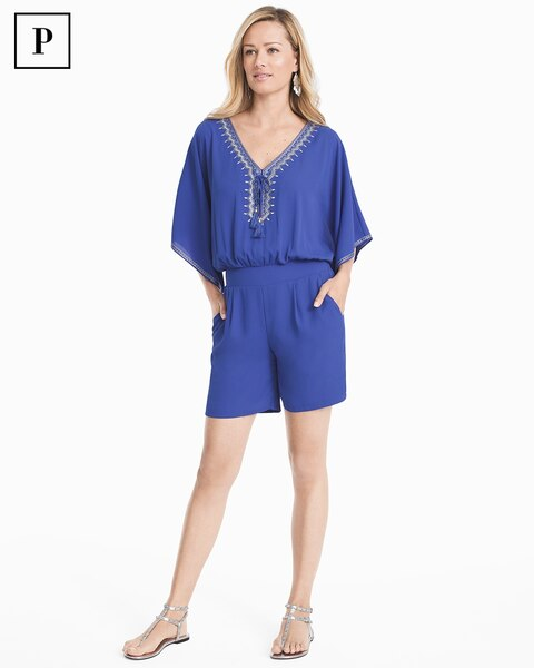 ce71b9b90a6 Return to thumbnail image selection Petite Kimono Sleeve Embroidered Romper  video preview image