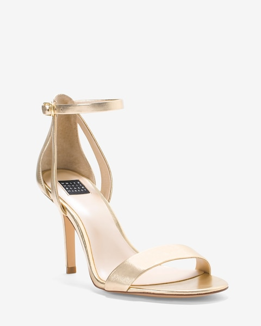 Gold Strappy Mid-Heel Sandals - White