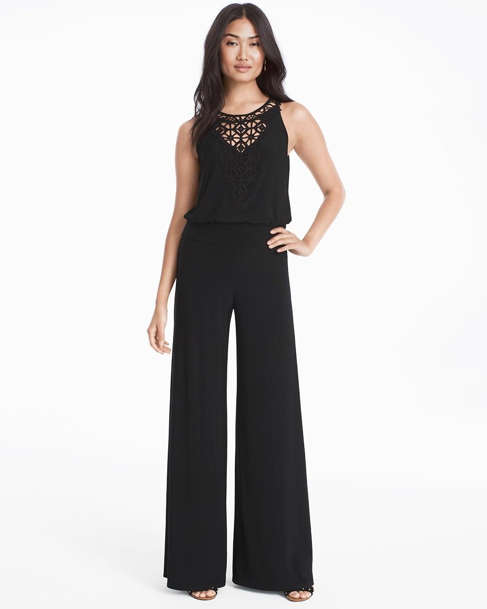 0fb0d64c9c Crochet Neck Black Knit Jumpsuit - Shop Formal & Cocktail Dresses for Women  - White House Black Market