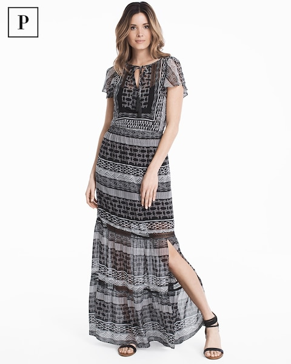 53fb565fa24 Petite Flutter-Sleeve Printed Woven Maxi Dress - White House Black Market