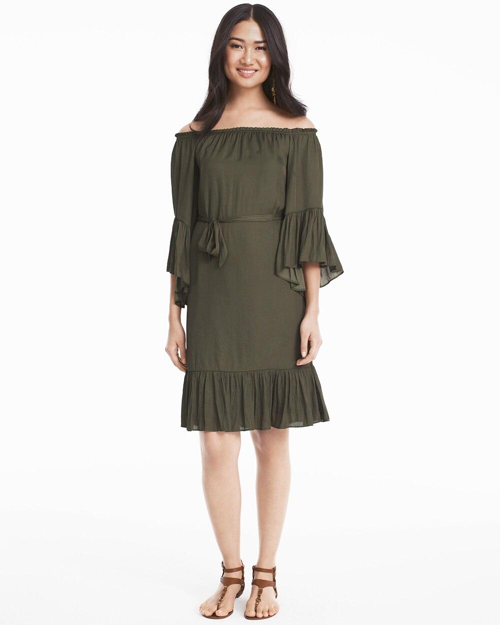 64dedaaebe5e Olive Green Off-the-Shoulder Flounce Dress - White House Black Market