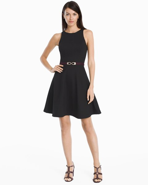 03c87e24f Return to thumbnail image selection Sleeveless Black Ponte Fit-and-Flare  Dress