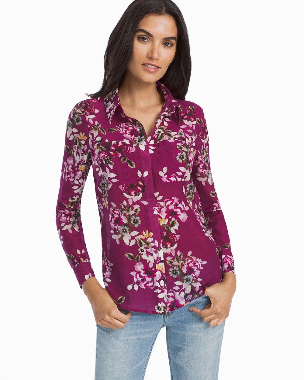 d7f094f1fca82c Floral Button-Up Shirt - Women's Shirts - Denim, Poplin, Soft Shirts & More  - White House Black Market