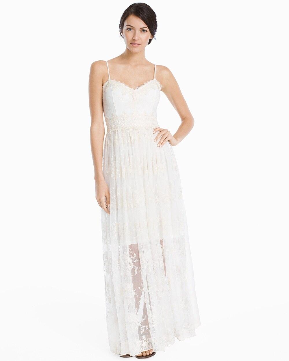White Strappy Embroidered Mesh Maxi Dress White House Black Market