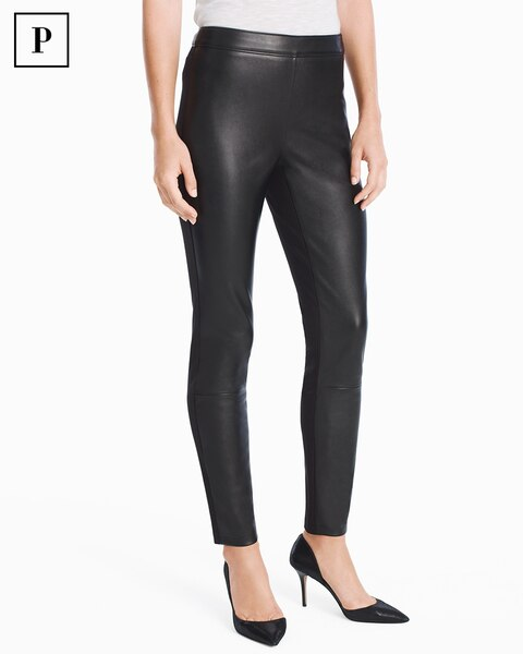 Womens Petite Vegan Leather Front Leggings By White House Black Market