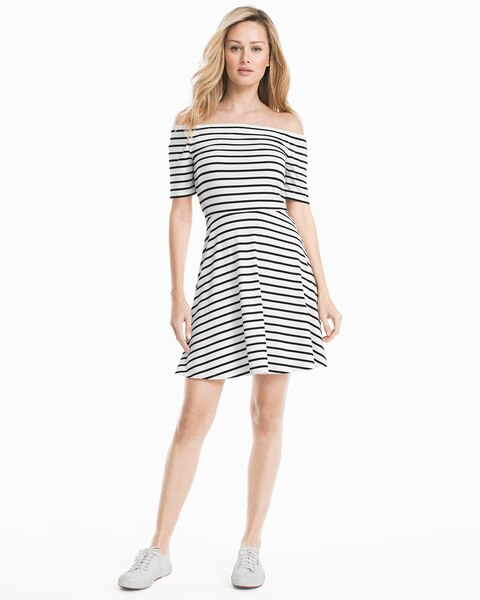 Womens Off-the-shoulder Striped Knit Sneaker Dress By White House Black Market