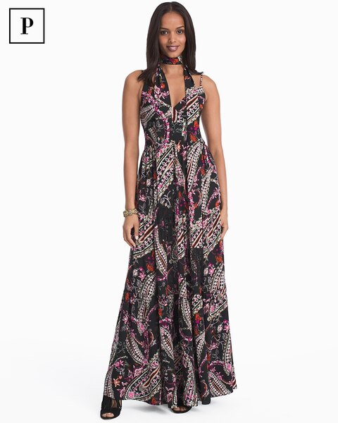 Womens Petite Paisley Print With Removable Scarf Maxi Dress By White House Black Market