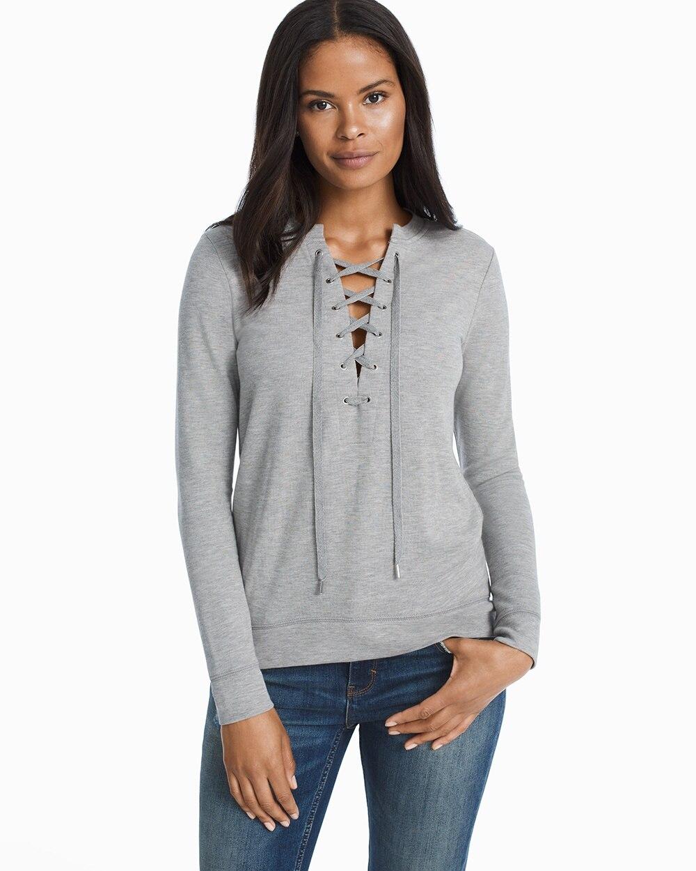 ccf60d1b2b Lace-Up Sweatshirt - White House Black Market