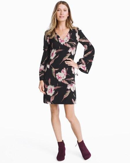 long sleeve floral bell sleeve shift dress