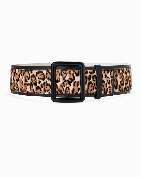 Womens Leopard Printed Haircalf Wide Buckle Belt By White House Black Market