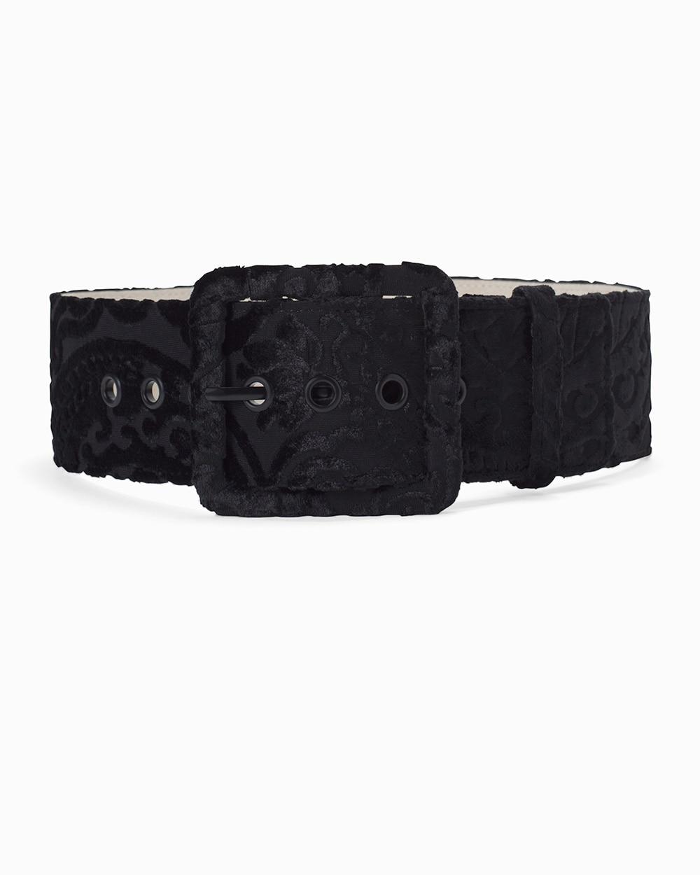 Womens Black Velvet Wide Buckle Belt By White House Black Market
