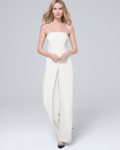 Women's Convertible White Strapless Split-Leg Jumpsuit by White House Black Market, Ecru, Size 14