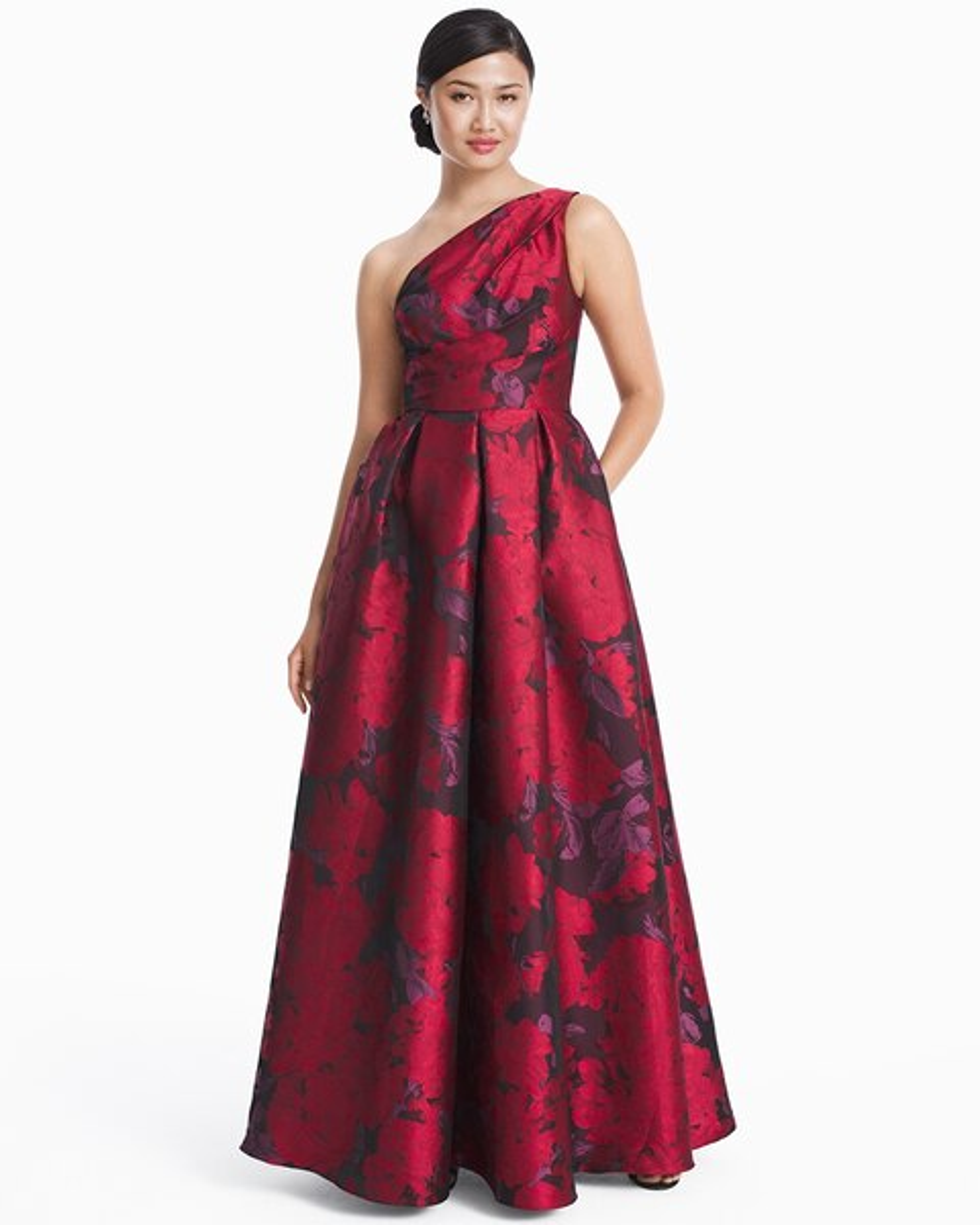 One-Shoulder Jacquard Gown - White House Black Market