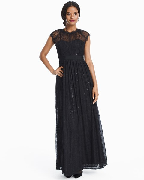 9b464880d7f6a Black Chiffon Illusion Gown With Lace Overlay - White House Black Market