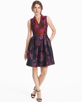 White House Black Market V-neck Jacquard Fit-and-Flare Dress at White House | Black Market in Sherman Oaks, CA | Tuggl