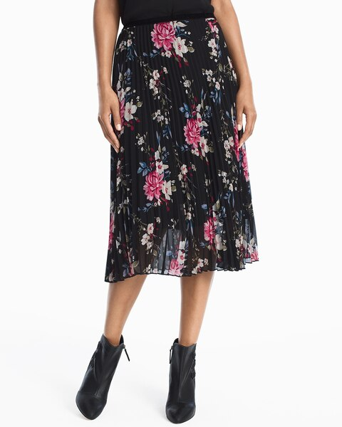 Return to thumbnail image selection Floral Pleated Midi Skirt video preview image, click to start video