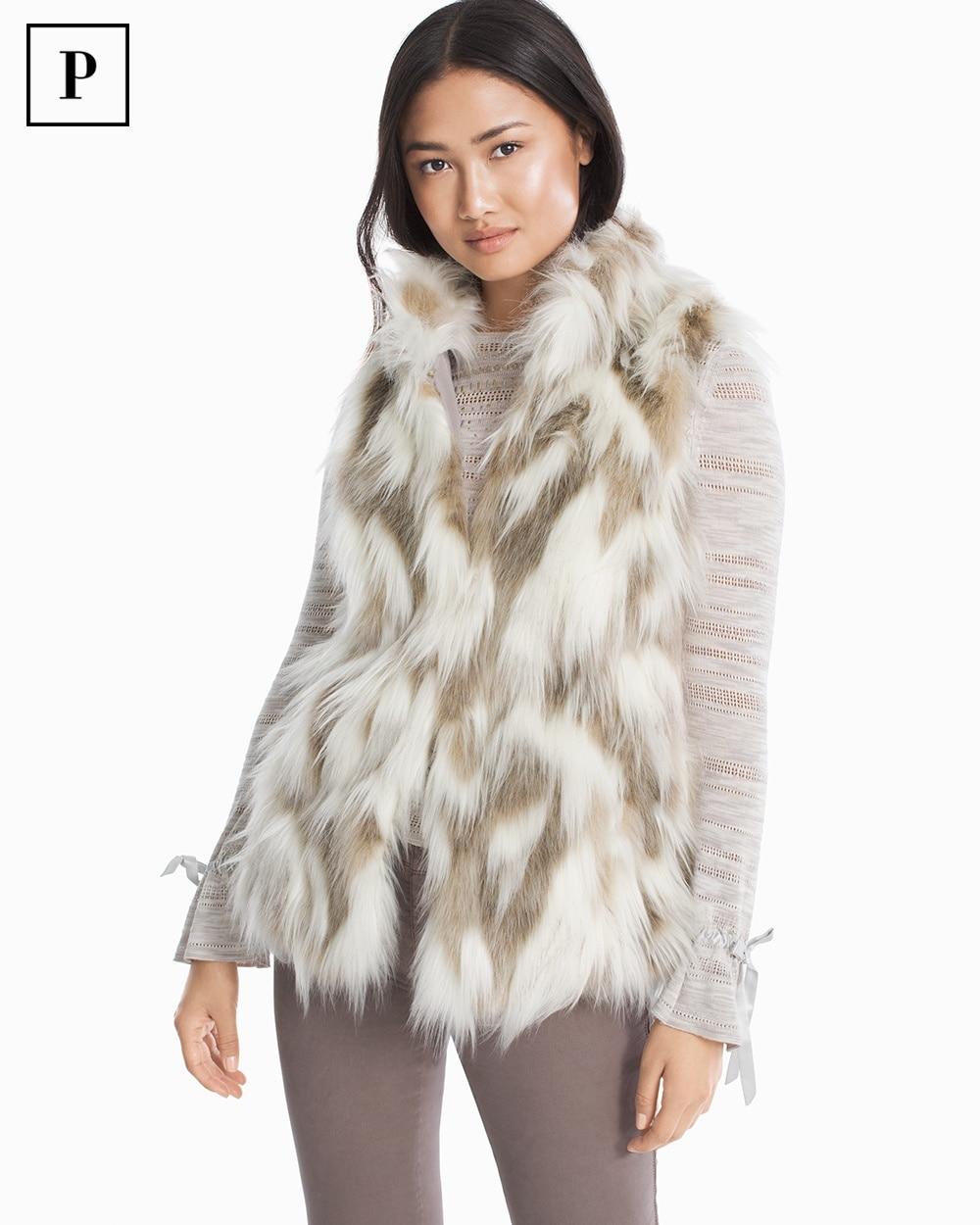 Womens Petite Faux Fur Vest By White House Black Market