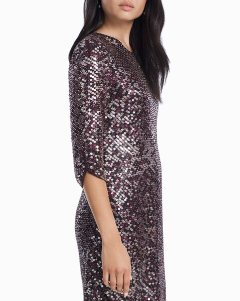 a5006446f003 Return to thumbnail image selection Petra 3/4-Sleeve Sequin Shift Dress