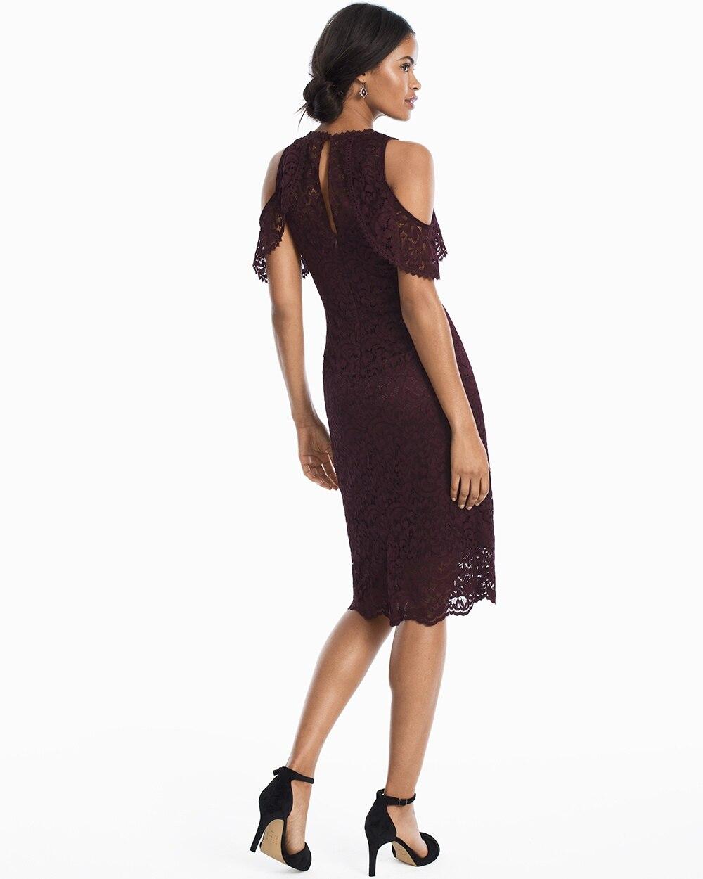 e81fffed61fa Return to thumbnail image selection Cold-Shoulder Lace Sheath Dress