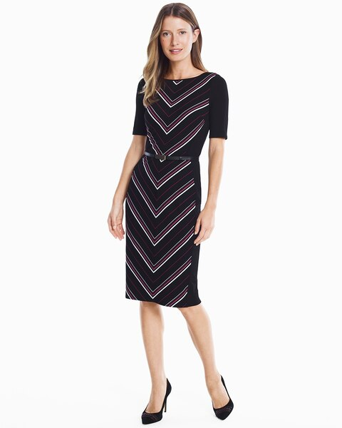 Womens Elbow Sleeve Striped Knit Sheath Dress By White House Black Market