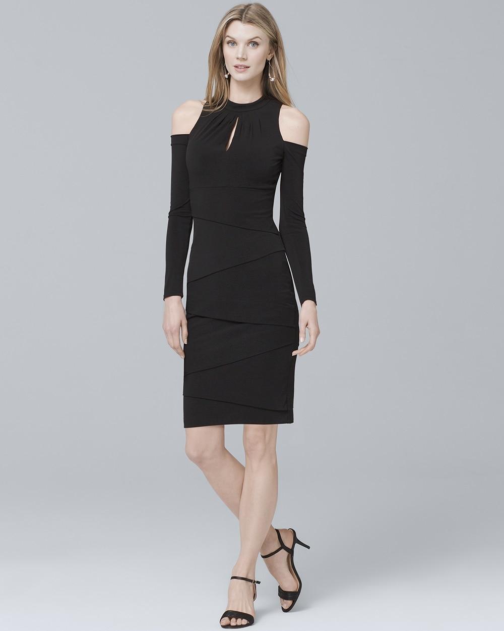 Long Sleeve Cold Shoulder Black Instantly Slimming Sheath Dress