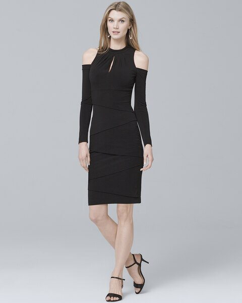 4473f68b02b Long Sleeve Cold Shoulder Black Instantly Slimming Sheath Dress - White  House Black Market