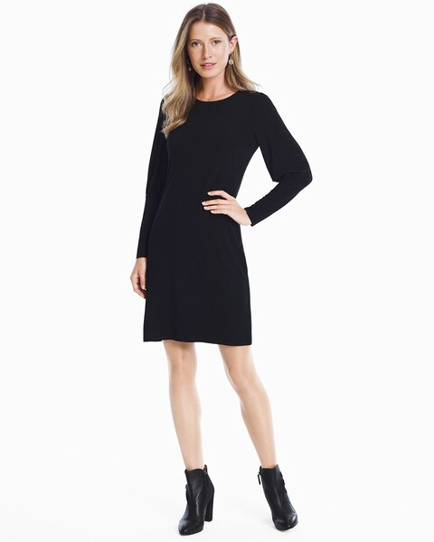 Womens Cutout-back Long-sleeve Black Knit Shift Dress By White House Black Market