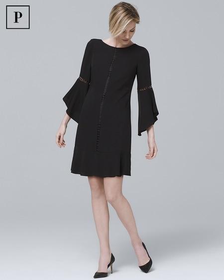 Petite Bell-Sleeve Black Shift Dress