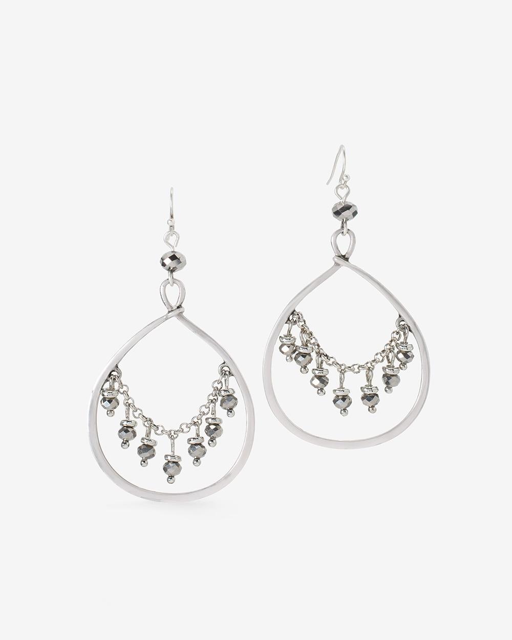 Hematite Beaded Teardrop Chandelier Earrings