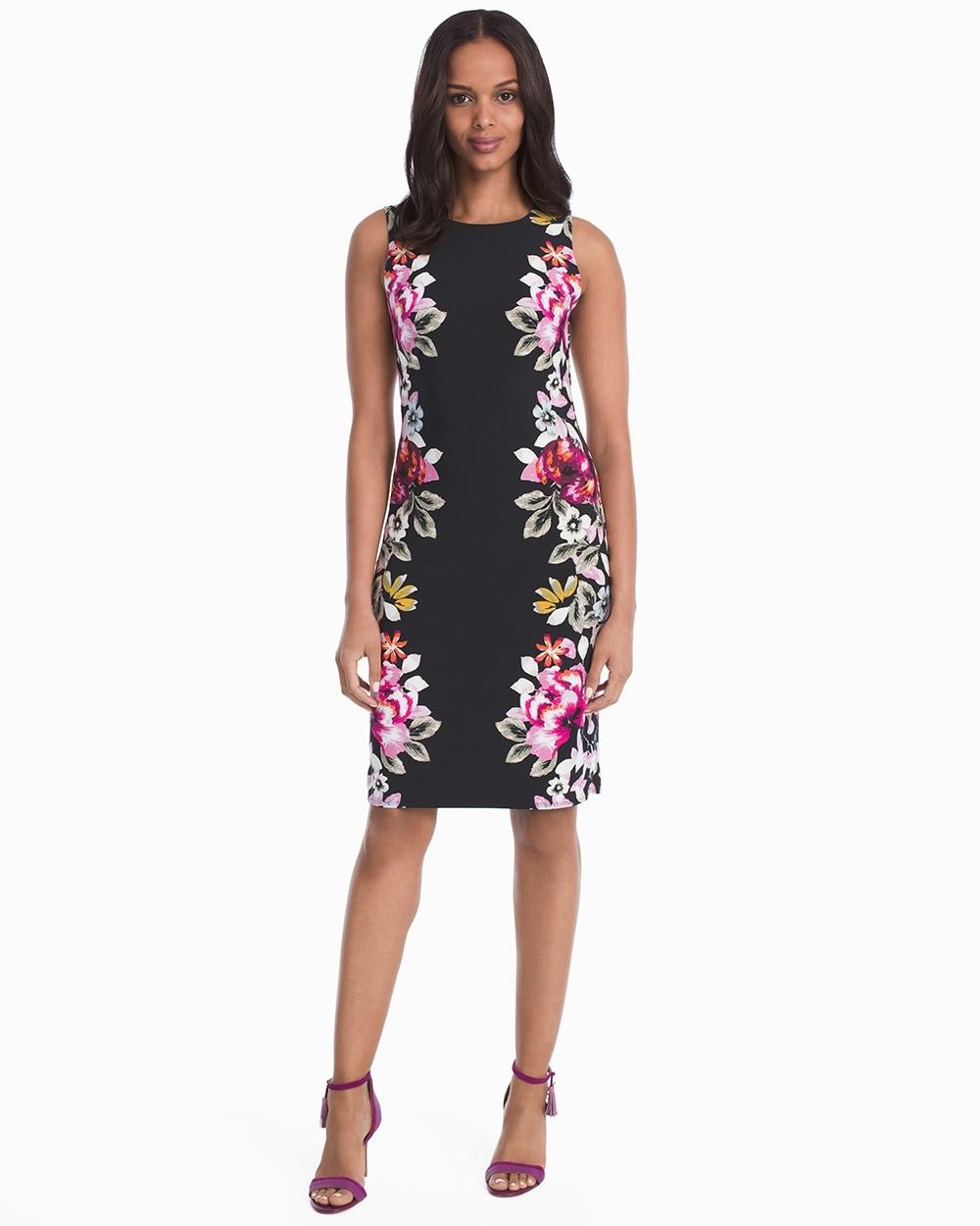 Fl Knit Sheath Dress