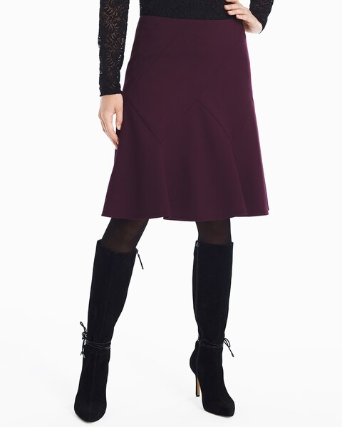 a5484c49104 Return to thumbnail image selection Seamed Ponte Fit-and-Flare Skirt video  preview image