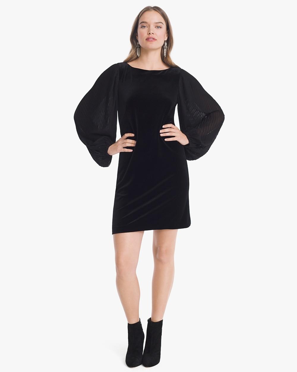 Chiffon Sleeve Black Velvet Shift Dress White House Black Market