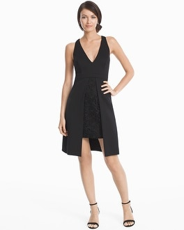 Black Scuba Overlay Lace Dress at White House | Black Market in Canoga Park, CA | Tuggl
