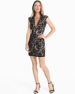 Contrast Lace Cutout Back Sheath Dress at White House | Black Market in Sherman Oaks, CA | Tuggl