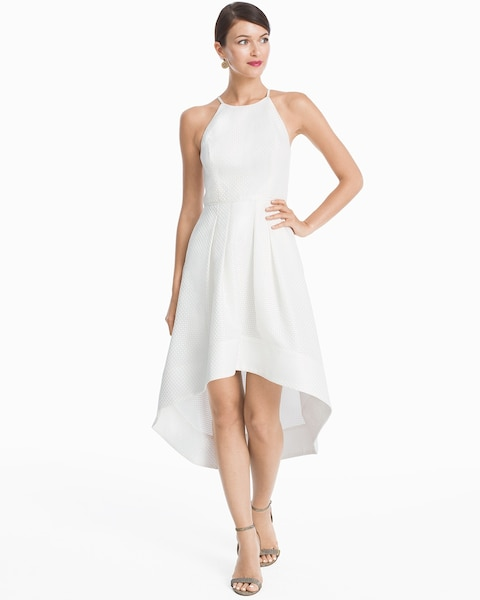White High Low Halter Fit And Flare Dress White House