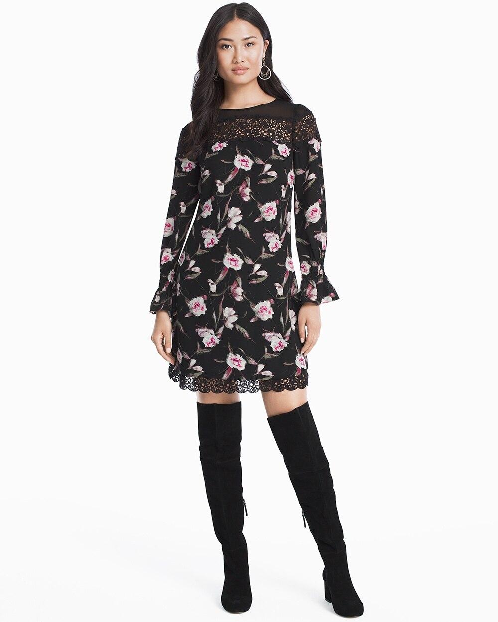 Long Sleeve Floral Lace Shift Dress White House Black Market