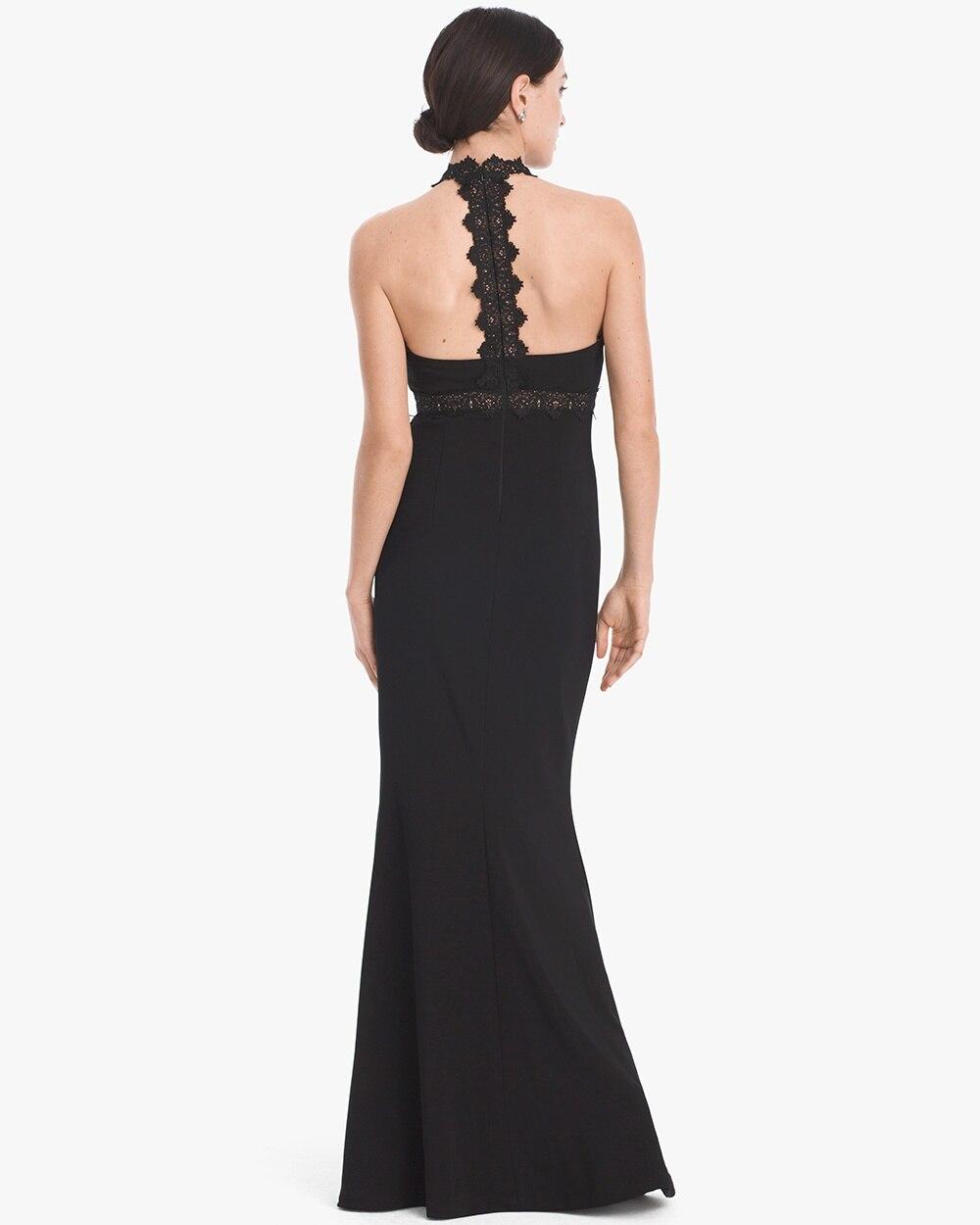 Black Lace Inset T-Back Gown - White House Black Market
