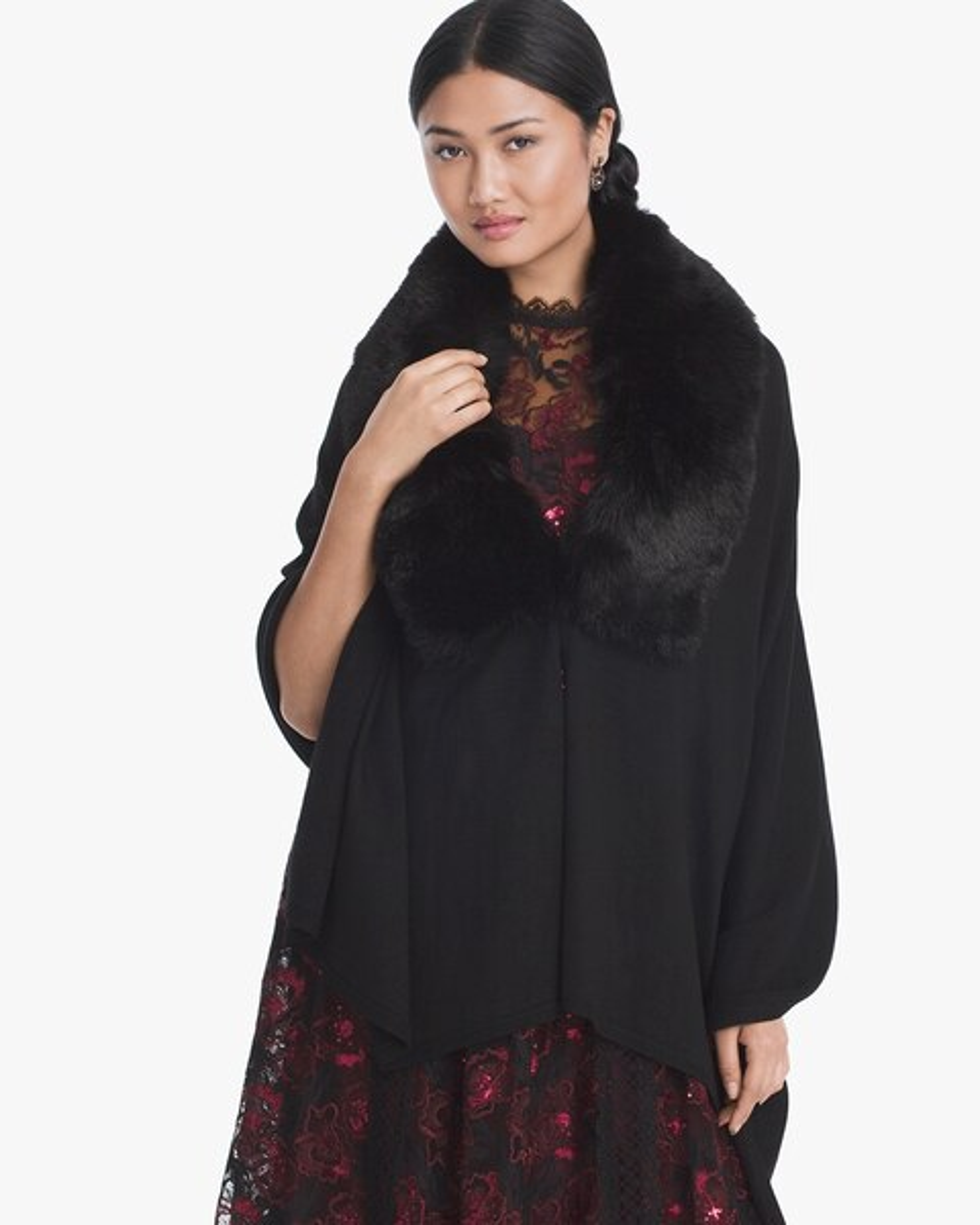 Womens Faux Fur Collar Wrap Vest By White House Black Market