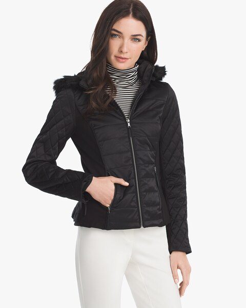 39a9b19a60336 Quilted Puffer Jacket with Removable Faux Fur Trim Hood - White House Black  Market